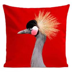 Coussin Grue Royale Rouge Velours | ART PILO | Idées Cadeaux Déco