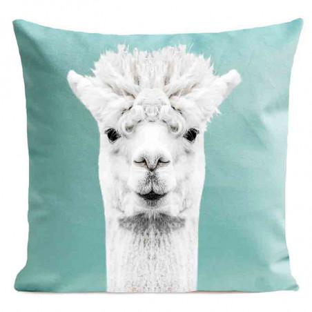 Coussin Serge le Lama Turquoise Velours | ART PILO | Idée Cadeau Déco