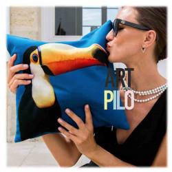 Coussin Toucan Bleu Velours | ART PILO | Idée Cadeau Fun