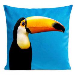 Coussin Toucan Bleu Velours | ART PILO | Idée Cadeau Originale